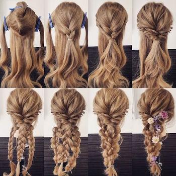 必要なものは細いヘアゴムのみ!はじめに結ぶ前の分ける時の準備にクリップがあると便利です。飾りをつけたい人はヘアピンもご用意ください。