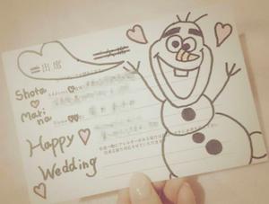 ディズニー結婚式招待状アートが流行イラスト返信デコ返信の事例