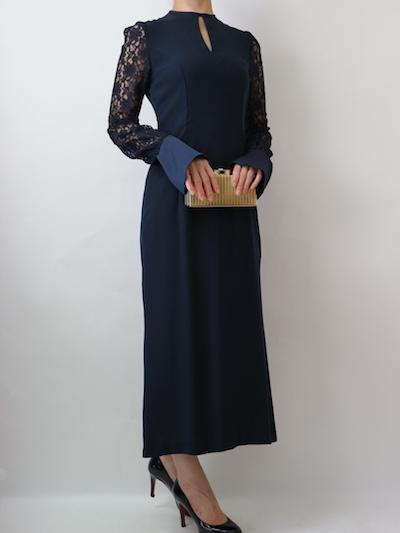 サイズガイド【 mame】フラワープリントスリーブドレス (ネイビー)