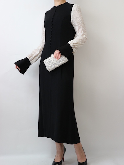 サイズガイド【 mame】フラワープリントスリーブドレス